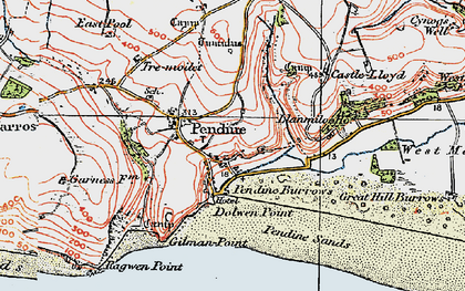 Old map of Pendine in 1922