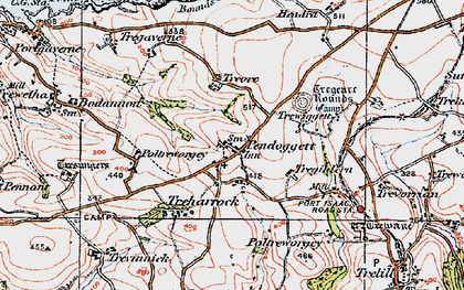 Old map of Pendoggett in 1919