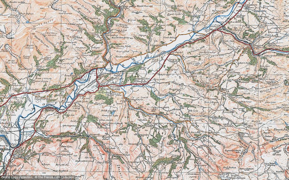 Old Map of Historic Map covering Afon Crewi in 1921