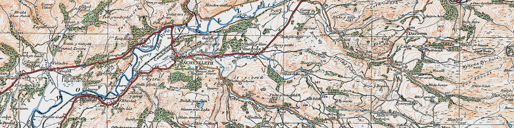Old map of Afon Crewi in 1921