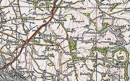 Old map of Penelewey in 1919