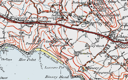 Old map of Pengersick in 1919
