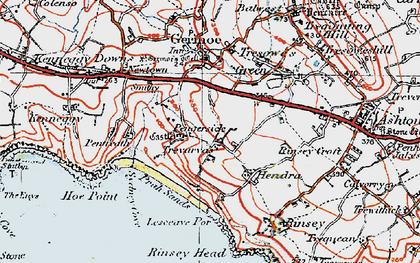 Old map of Pengersick in 1919