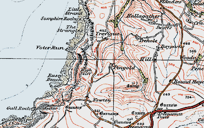 Old map of Pengold in 1919