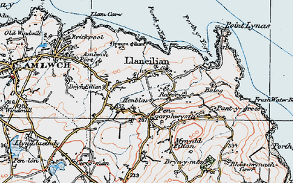 Old map of Pengorffwysfa in 1922