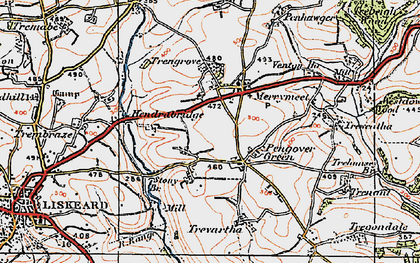 Old map of Pengover Green in 1919