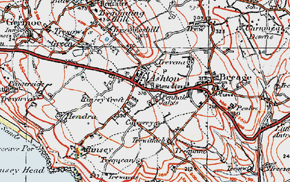 Old map of Penhale Jakes in 1919