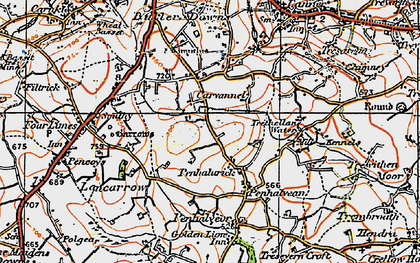 Old map of Penhalurick in 1919