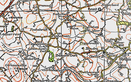 Old map of Penhalvean in 1919