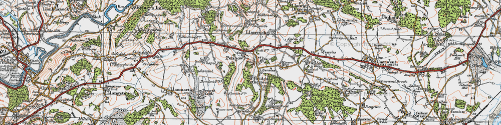 Old map of Penhow in 1919