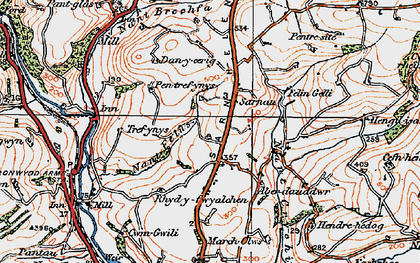 Old map of Afon Gwili in 1923