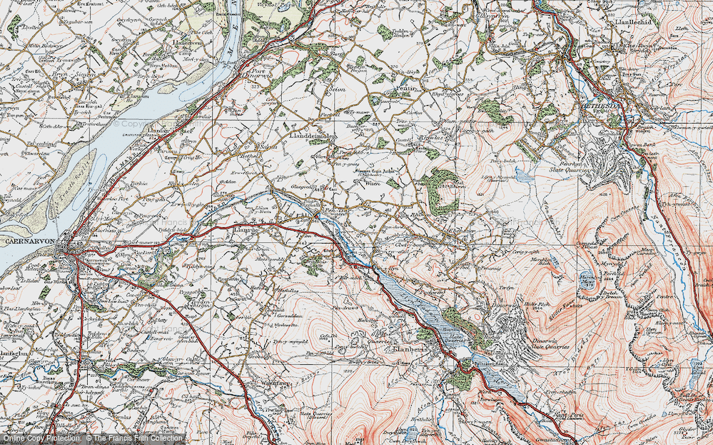 Old Map of Historic Map covering Afon Rhythallt in 1922