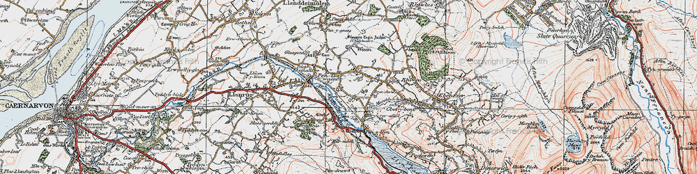 Old map of Afon Rhythallt in 1922