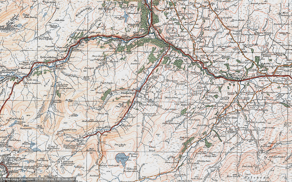Old Map of Historic Map covering Afon Oernant in 1922