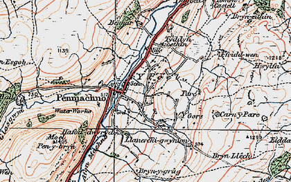 Old map of Afon Rhydyrhalen in 1922