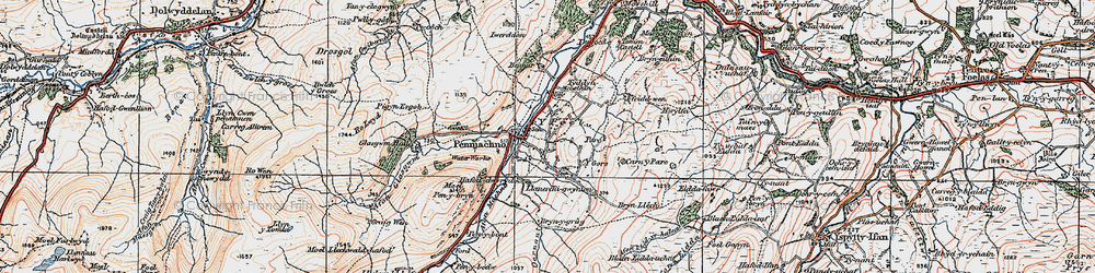 Old map of Afon Machno in 1922