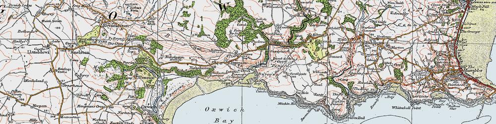 Old map of Penmaen in 1923