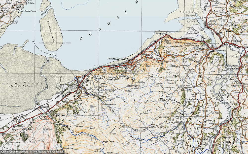 Old Map of Historic Map covering Afon Gyrach in 1922