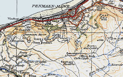 Old map of Afon Maes-y-bryn in 1922