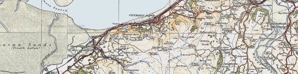 Old map of Afon Gyrach in 1922