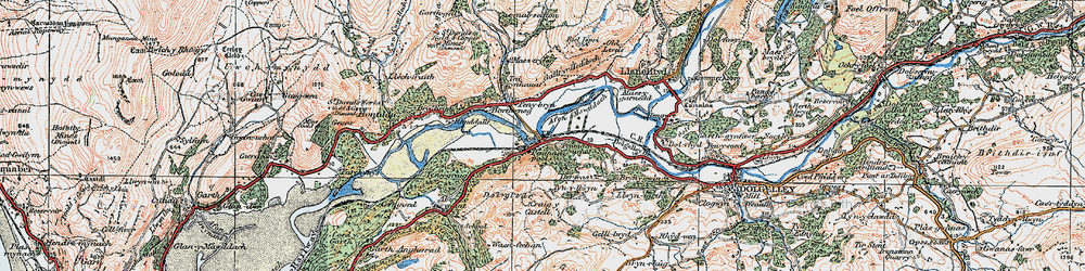 Old map of Penmaenpool in 1921