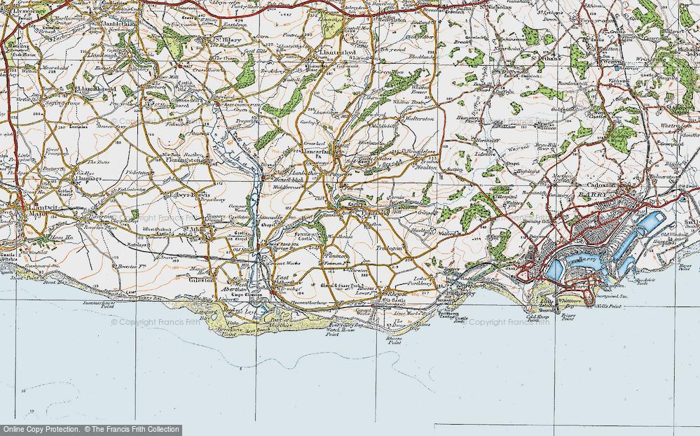 Old Map of Penmark, 1922 in 1922