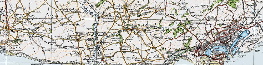 Old map of Penmark in 1922