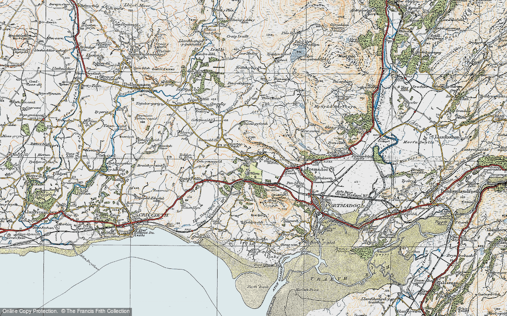 Old Map of Historic Map covering Y Fedw in 1922