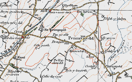 Old map of Afon Ceint in 1922