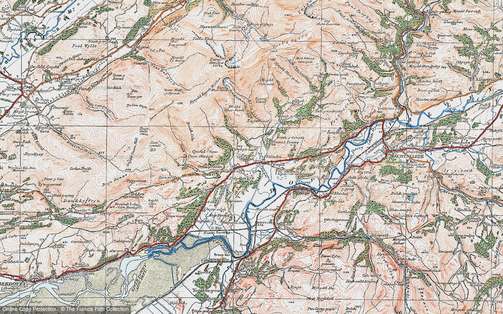 Old Map of Historic Map covering Afon Alice in 1921