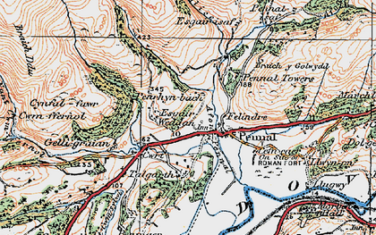 Old map of Pennal in 1921