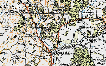 Old map of Penny Bridge in 1925