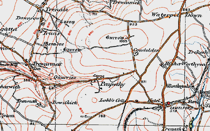 Old map of Penpethy in 1919