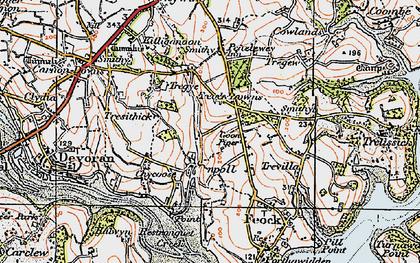 Old map of Penpol in 1919