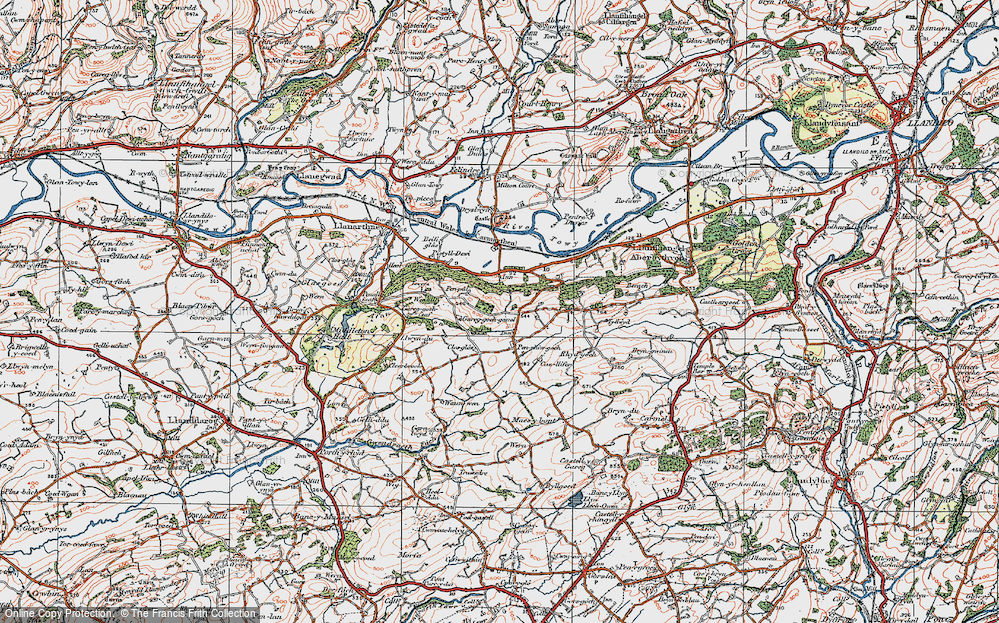 Old Map of Historic Map covering Afon Gwynon in 1923