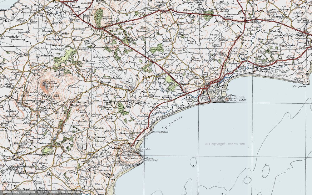 Old Map of Historic Map covering Afon Penrhos in 1922