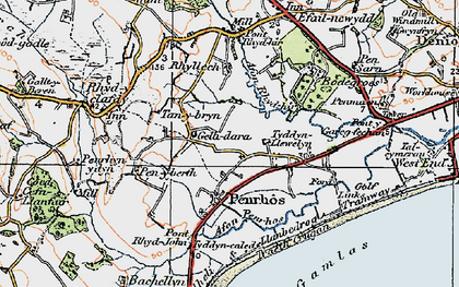 Old map of Afon Penrhos in 1922