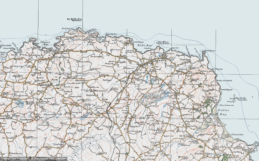 Old Map of Historic Map covering Ysgellog in 1922