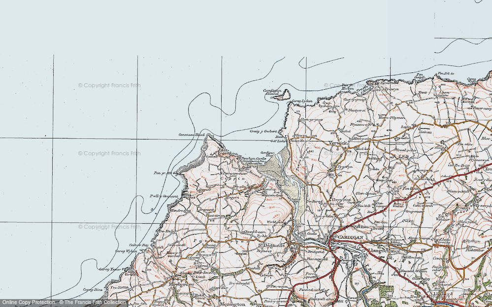 Old Map of Historic Map covering Allt-y-goed in 1923