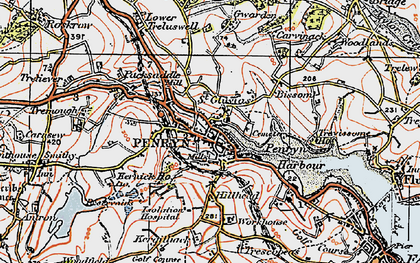 Old map of Penryn in 1919