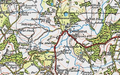 Old map of Penshurst in 1920