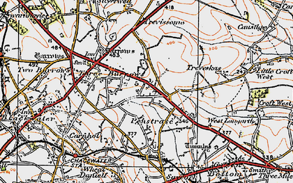 Old map of Penstraze in 1919