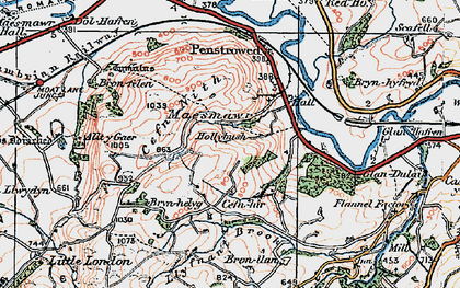 Old map of Allt y Gaer in 1921