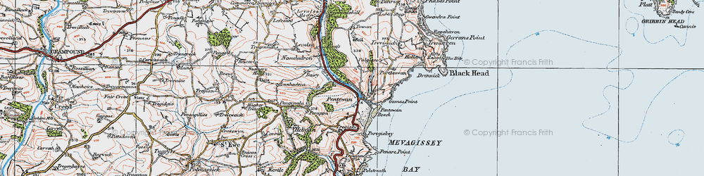 Old map of Pentewan in 1919