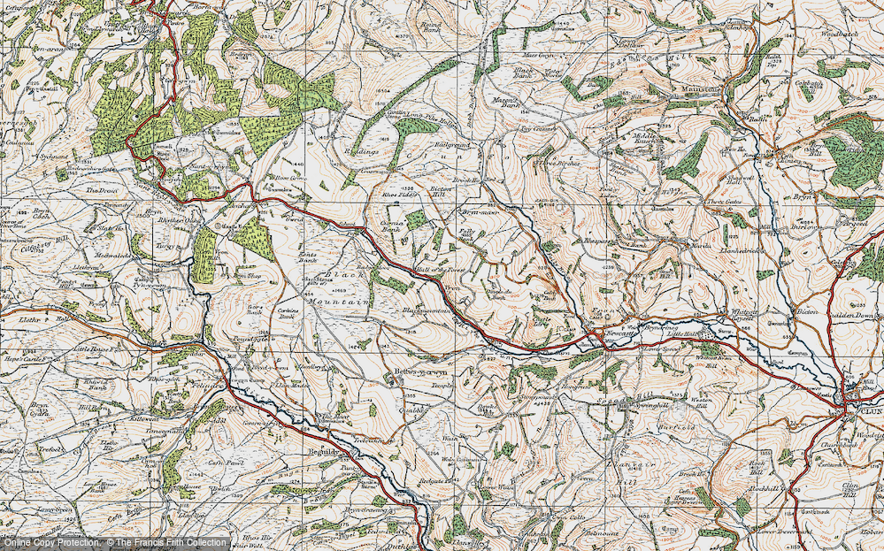 Old Map of Historic Map covering Badger Moor in 1920