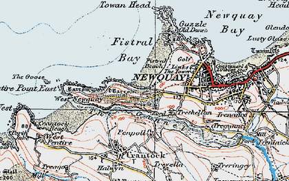 Old map of Pentire in 1919