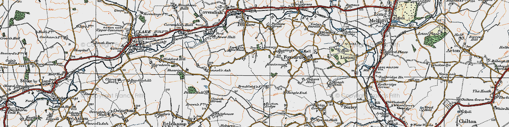 Old map of Pentlow in 1921