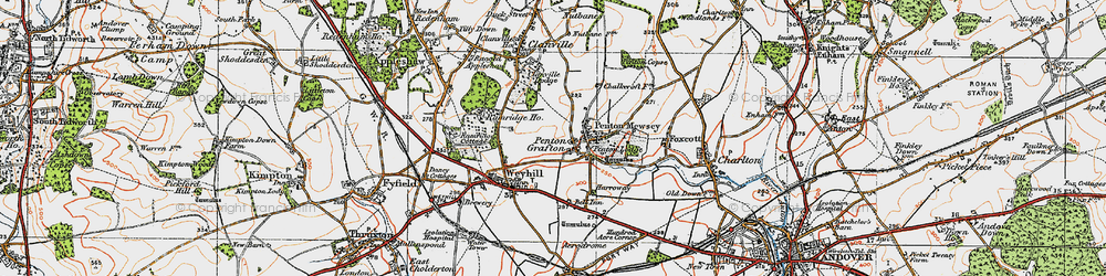 Old map of Weyhill Service Area in 1919