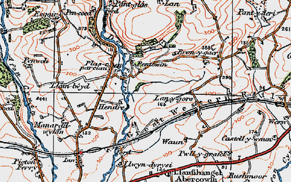 Old map of Lanygors in 1922