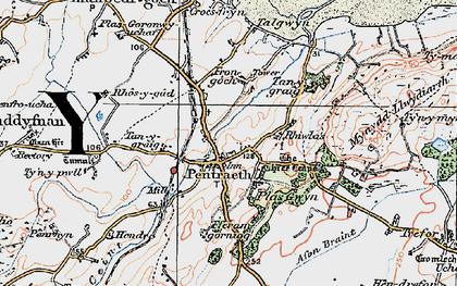 Old map of Afon Nodwydd in 1922
